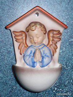 """White Angel"" Goebel Hummel Figurine #75 Wall Plaque Holy Water Font TMK3 - RARE"