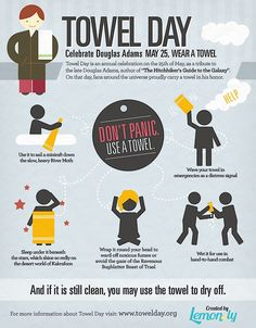 Don't panic! Use a towel! #towelday #infografik