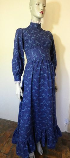 LAURA ASHLEY Indigo Blue, Heraldic Print, Panther And Deer, Dyers & Printers, Maxi Dress, Size 10 Ashley Blue, Laura Ashley, Deer Print, Indigo Blue, Lace Trim, Vintage Dresses, Size 10, Pretty, Lion