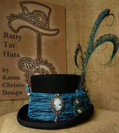 Ladies Steampunk hat inspired by the beautiful South American butterfly. Lady Morpho is truly eyecatching with her iridescent colours.