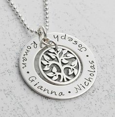 Jewelry, hand stamped personalized family tree washer necklace, $56, http://www.etsy.com/shop/divinestampings