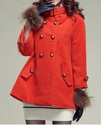 $22.70 Double-breasted Epaulets Pockets Worsted Solid Color Coat For Women