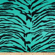 Cotton Poly Jersey Knit Zebra Teal/Black from @fabricdotcom  This cotton jersey knit fabric features 25% stretch across the grain and a soft hand. It is perfect for T-shirts, tops, layering apparel, loungewear and more.