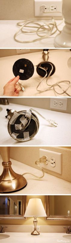 48 Trendy Office Organization Cords Simple – Home Office 2020 Small Bathroom Ideas On A Budget, Small Bathroom Storage, Kitchen Storage, Cord Organization, Bathroom Organization, Hide Electrical Cords, Small Lamps, Lamp Cord, Home Projects