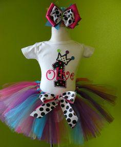Diva Rock Rainbow Princess Rhinestone Birthday Tutu Outfit