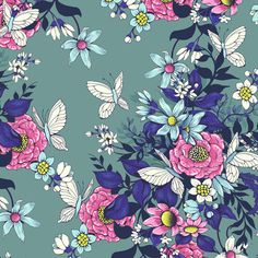 Use Photoshop to create a flowery and seamless pattern for fabric.