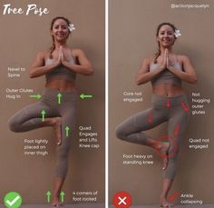 Tree Pose - Before and after. How to improve the yoga poses. Action Jacquelyn, Yoga and Barre Tutorials Best Hiit Workout, Barre Workout, Butt Workout, Workout Fitness, Workout Motivation, Fitness Goals, Yoga Fitness, Yoga Trainer, Bad Posture