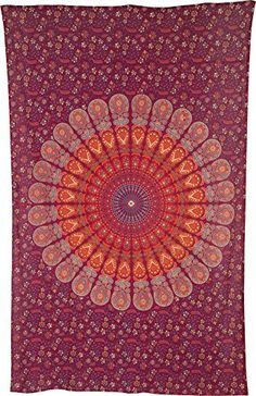 Luna Bazaar Anita Bohemian Mandala Tapestry Wall Hanging and Bedspread Medium 45 x 7 Feet Red and Orange 100 Cotton Fair Trade Certified -- You can find more details by visiting the image link.
