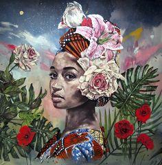 """"""" MUHUMUZA – THE LEGEND OF NYABINGHI """" acrylic on canvas 200x200 cm. 2017"""