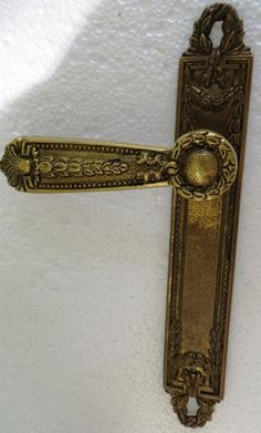 Gorgeous Antique Brass Door Handle Lever w Crown Crest Backing Plate