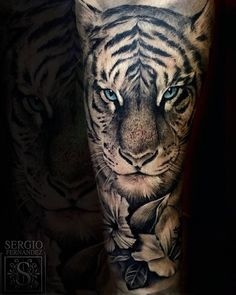 Image result for tiger tattoos with flowers