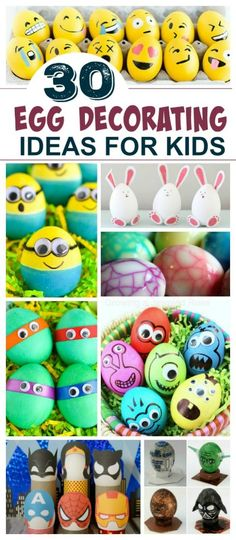 Egg decorating Ideas for Kids. #eggdecoratingideas #eggdyingideas #eastereggs #eastercraftsforkids #easteractivitiesforkids