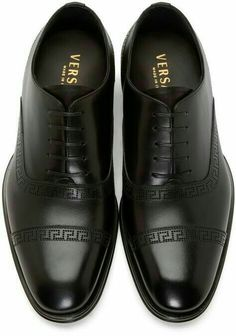 Versace Black Perforated Leather Oxfords the perfect shoe Me Too Shoes, Men's Shoes, Shoe Boots, Dress Shoes, Shoes Style, Formal Shoes, Casual Shoes, Versace Shoes, Mens Fashion Shoes