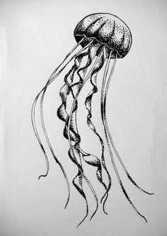 Jellyfish Drawing, Jellyfish Tattoo, Jellyfish Art, Tattoo Drawings, Art Drawings, Stippling Art, Octopus Design, Old School Tattoo Designs, Watercolor Projects