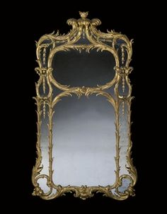 "John Vardy (1718-1765) (Attributed) - George III Pier Mirror. Carved & Gilt Wood & Gesso and Mirrored Glass. Supplied to Charles Powlett, the 5th Duke of Bolton, Circa 1760-1765. England. Circa 1762-1763. 80"" x 44"" (203cm x 112cm)."