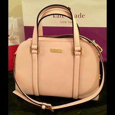 """Kate Spade small Felix Newbury Lane satchel 100% Authentic. Ballet slip soft pink Saffiano leather.  14-karat light gold plated hardware with protective metal feet.  Interior has one zip pocket, two slip pockets and fabric lined.  Leather handles have a 4.5"""" drop.  Bag comes with adjustable strap that is detachable.  Measurements:  11.5"""" L x 8.5"""" H x 4.5"""" W. kate spade Bags Satchels"""