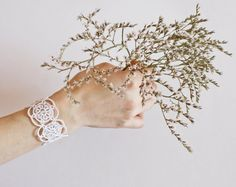 White lace bracelet wedding bracelet white bracelet by LacedMood