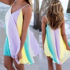 "AND THEY'RE HERE! CHIFFON RAINBOW DRESS! I HAD THESE IN THE SPRING AND THEY SOLD OUT IN 10 DAYS! Beautifully made, flattering to any physique. Adjustable straps. Lined. PLEASE DO NOT BUY THIS LISTING! I will personalize one for you. XL: bust 43"" length 33""♦️XXL: bust 45"" tla2 Dresses"