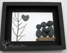 Family Gift Personalized Pebble Art Pebble Art by SticksnStone