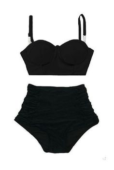 Black Block Midkini Top and Ruched High Waist by venderstore