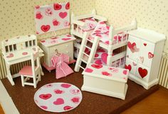 Pink Hearts OOAK Dolls House 12th scale bunk bed set (wardrobe/desk/drawers/toy box etc)