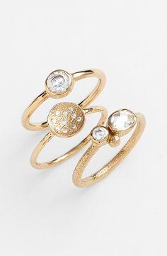 Sparkly, and unique, these gold rings are perfect for mixing and matching.