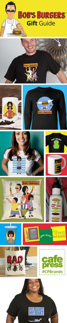 Bob's Burgers Gift Guide! Shop Bob's Burgers t-shirts, drinkware, home goods, stickers and more! #BobsBurgers