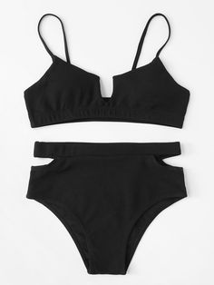 c5abee5aa4 Shop Ribbed Top With Cut-Out High Waist Bikini Set online. SHEIN offers  Ribbed Top With Cut-Out High Waist Bikini Set & more to fit your  fashionable needs.