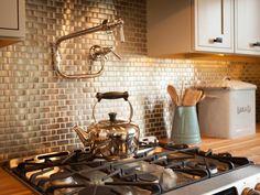 Metal Tile Kitchen Backsplash   DIYNetwork