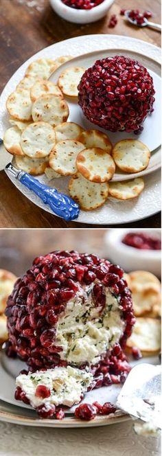 VIDEO! >> Pomegranate Jeweled Cheeseball - White Cheddar and Crispy Sage I www.howsweeteats.com @howsweeteats #christmas