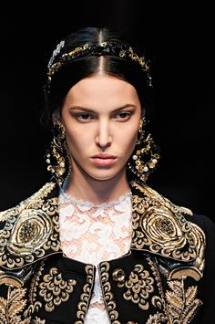 love the combo of headbands and earrings riffing off top embroidery -- Dolce & Gabbana did this matador style, but imagine it desi style