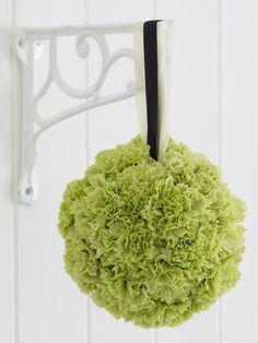 Green carnation flower pomander for a DIY wedding Floral Wedding, Diy Wedding, Wedding Flowers, Wedding Day, Green Wedding, Wedding Bouquets, Wedding Stuff, Green Carnation, Mary Flowers