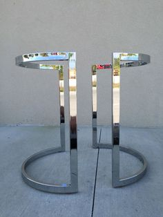 Mid-Century Expandable Demilune Chrome Table Base (Attributed to Milo Baughman) #MidCenturyModern #MiloBaughman