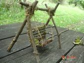 Items similar to fairy swing, fairy porch swing, fairy love seat, fairy bench swing on Etsy Fairy garden swing Mini Fairy Garden, Fairy Garden Houses, Fairy Gardening, Organic Gardening, Fairy Crafts, Garden Crafts, Garden Tools, Garden Ideas, Fairy Garden Furniture