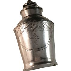 Solid Silver Tea Caddy Box. Hallmarked Germany / Prussia Vintage & antique tea pots, teaspoons, tea caddy, tea strainer and tea clothes at Ruby Lane www.rubylane.com @rubylanecom #antiqueteaearly 1800s.