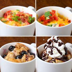 Gyors reggeli egy bögre 4 Ways Breakfast And Brunch, Breakfast Dishes, Breakfast Recipes, Breakfast Ideas, Coconut Dessert, Oreo Dessert, Brownie Desserts, Mini Desserts, Mug Cakes