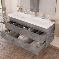 Wall mounted bathroom furniture Luxus 100 Granite | Έπιπλο μπάνιου Luxus 100 cm με συρτάρια