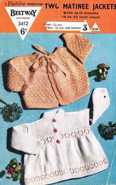 Bestway 3412 baby matinee coats vintage baby knitting pattern PDF