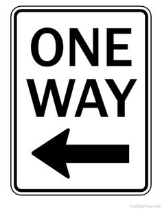 Printable One Way Left Arrow Sign