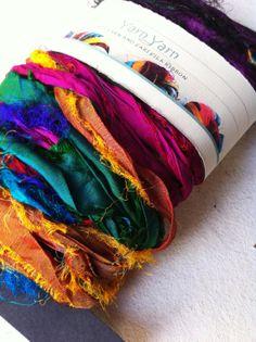 Sari silk ribbon. 12 yards, 25 grams, arts and crafts supplies, jewelry making, weaving. Unique eco friendly art yarn.