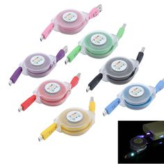 Universal Visible USB Colorful Led light Retractable Data Sync Charger Cable for Samsung for HTC Android #>=#>=#>=#>=#> Click on the pin to check out discount price, color, size, shipping, etc. Save and like it!