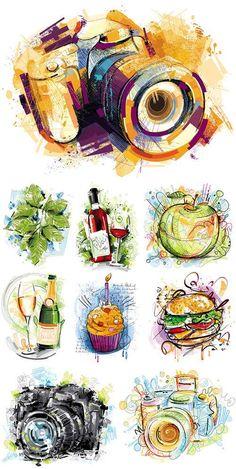 Векторные объекты в акварели: фотоаппарат, листья, яблоко, кекс, вино, шампанское