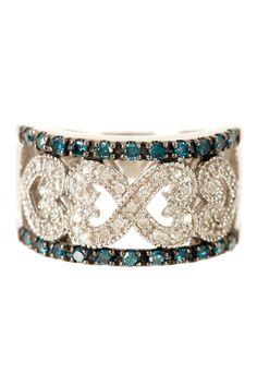 Blue & White Diamond Heart Ring - 0.50 ctw