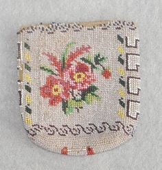 antique coin purse BEADED flowers and birds, tiny beads, very old