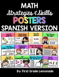 Math Strategies Posters SPANISH Version by First Grade Lemonade | Teachers Pay Teachers Math Strategies Posters, Line Math, Touch Math, Math Writing, Math Poster, Poster Drawing, Hundreds Chart, Teacher Pay Teachers, Pictures To Draw