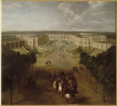 View of the Grand Trianon palace seen from the Avenue in 1723, showing the Regent giving orders for the arrival of Louis XV in the carriage in the courtyard, Pierre Denis Martin (1663-1742)