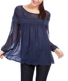 Navy Blue Caroline Silk Top