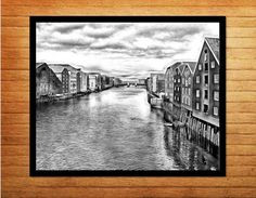 Black and white photography digital download printables. Trondheim, Norway is picturesque in summer - very soft and artistic. Made by Gia - $10.00