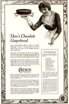 Dying for Chocolate: Chocolate Gingerbread Cake: Vintage 1919 Ad & Recipe