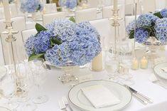 Blue hydrangea centerpieces.
